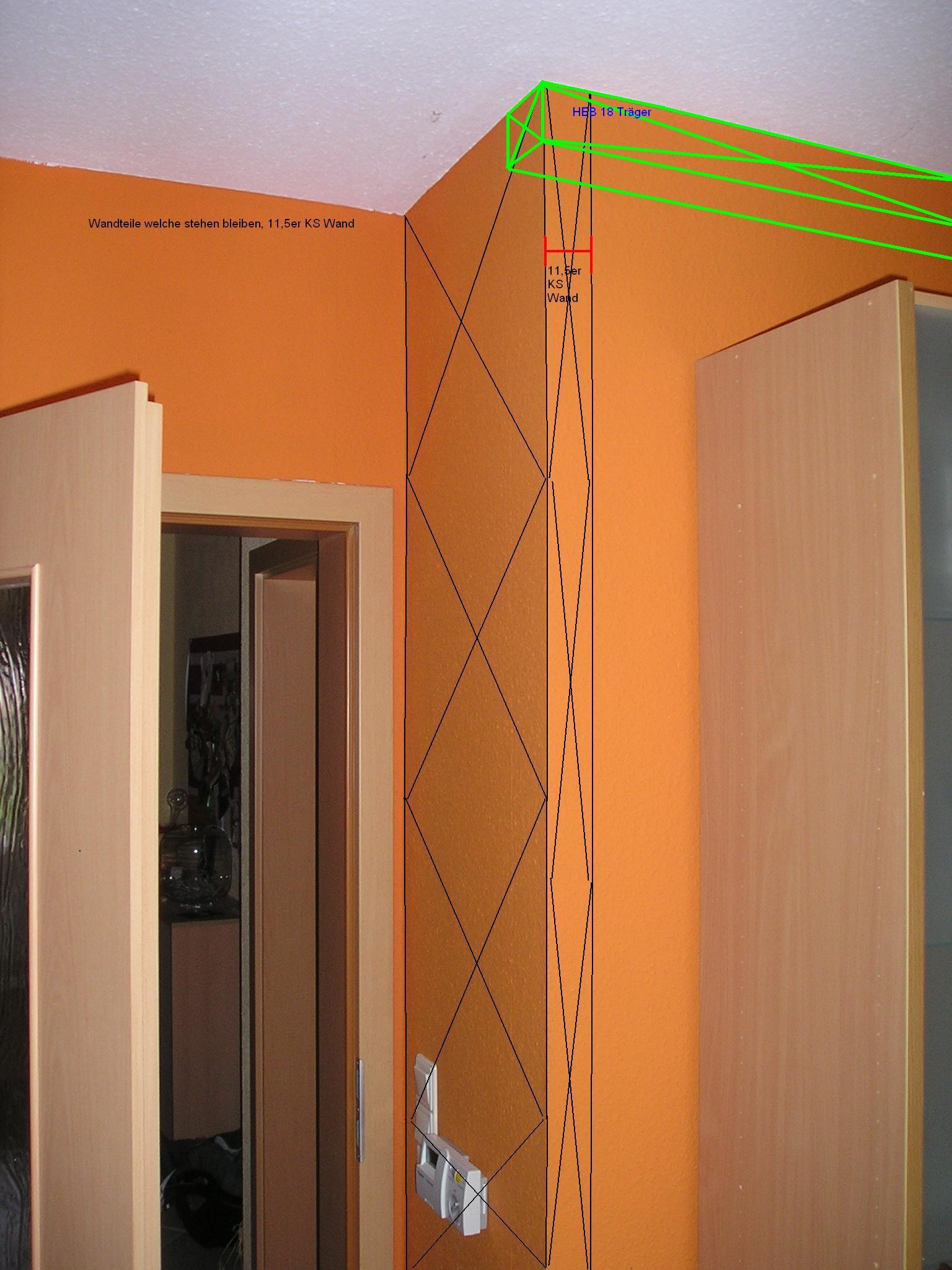 einziehen eines heb 180 tr gers als abfangung hausbau. Black Bedroom Furniture Sets. Home Design Ideas