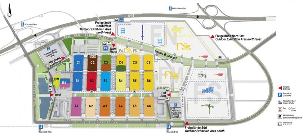 Alle Hallen, alle Freiflächen, alle Ausstellungsbereiche: der neue bauma Geländeplan