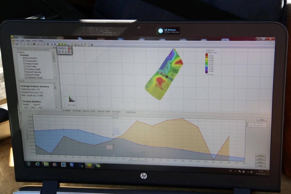 Bearbeitung des Geländemodells am Computer unter Berücksichtigung jeglicher Gefälle