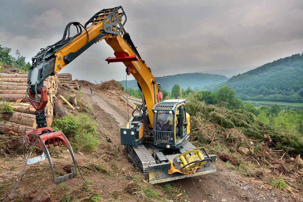 Hyundai HX235LCR Umbau für den Forsteinsatz. Foto: Thomas Firner